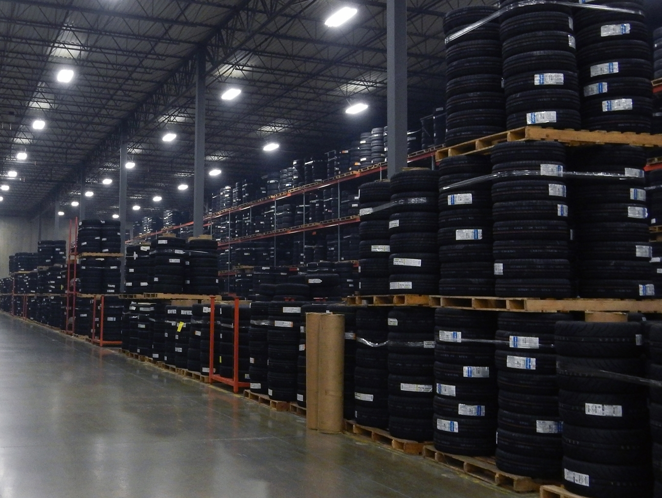 tires in warehouse facility