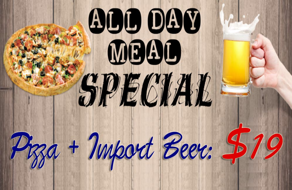 pizza and beer special ad