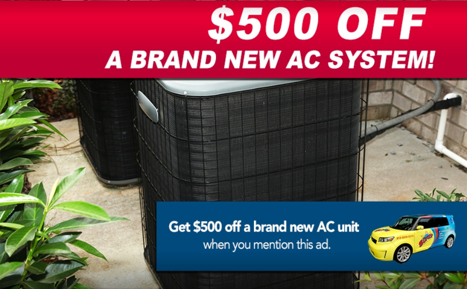 Photo of new air conditioning unit and $500 discount special