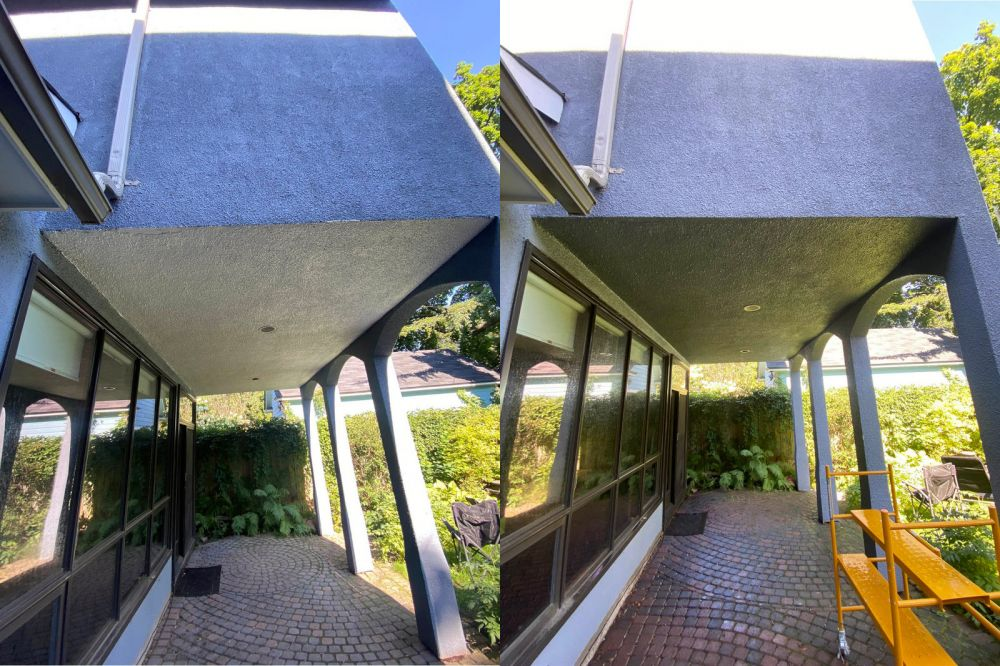 photo of handyman ottawa exterior painting stucco before and after pic