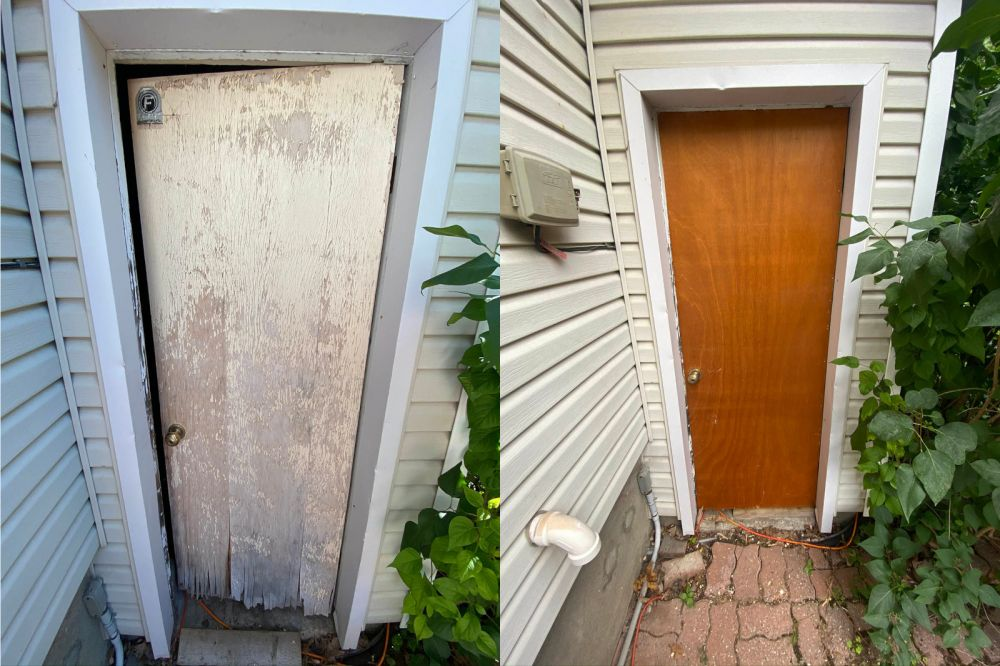photo of handyman ottawa outside door replacement before and after pic