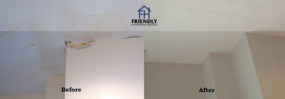 photo of ceiling drywall repair and installation job in Ottawa