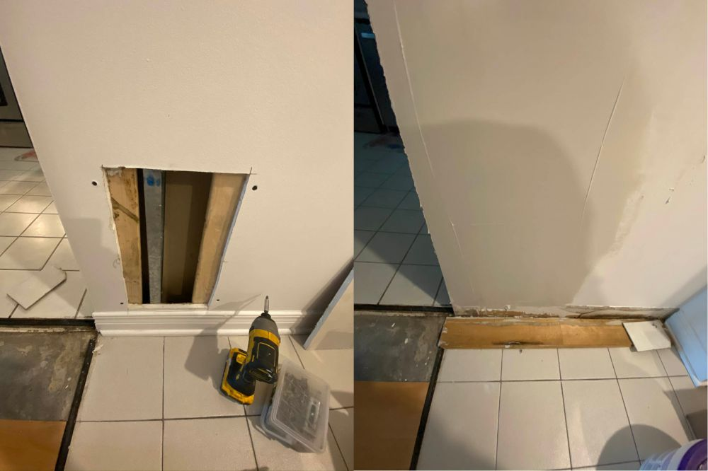 photo of Ottawa drywall corner repair before and after pic