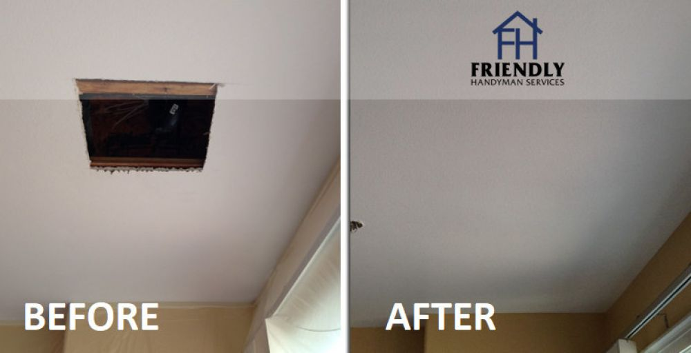 photo of drywall ceiling repair job in Ottawa