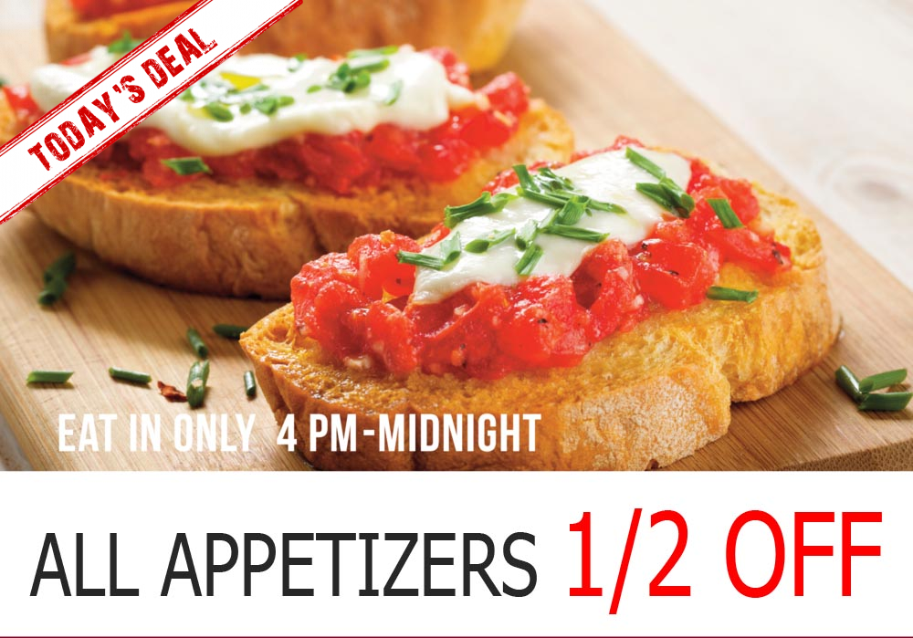 50 OFF appetizers ad